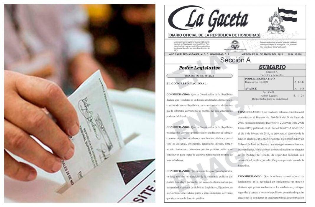 Ley Electoral en La Gaceta