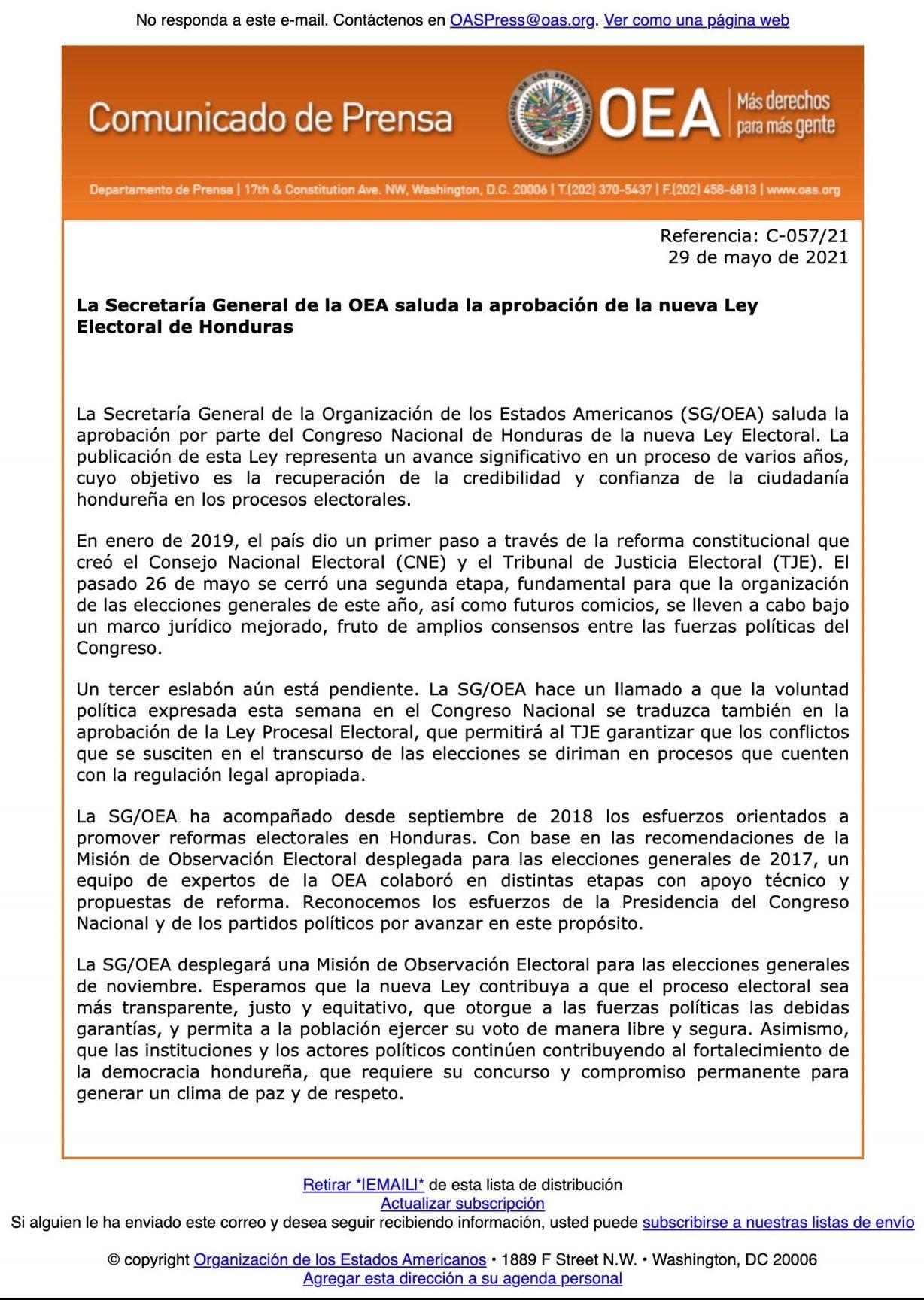 Comunicado emitido hoy por la OEA.