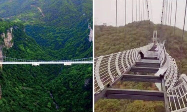 «De infarto»: puente de vidrio se rompe en China cuando hombre lo cruzaba