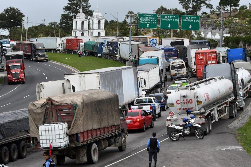 paro de transporte de carga pesada