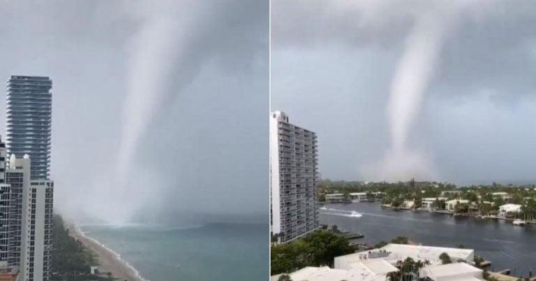 Se forma supuesta tromba marina en Miami cerca del edificio que se cayó