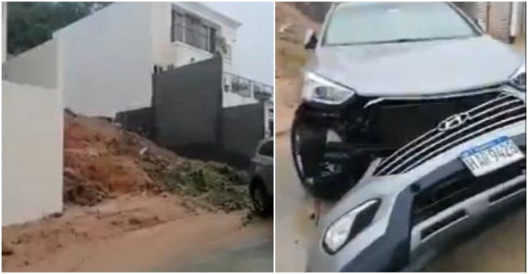 Video: Carro queda dañado por «cascada» en residencial El Sauce de TGU