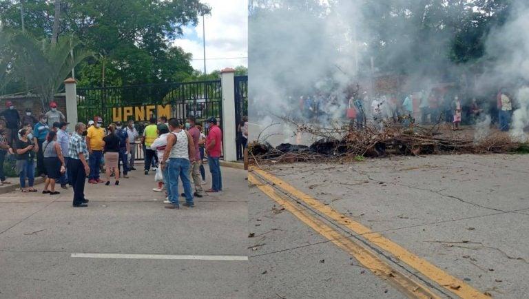 """TGU: Protestan frente a la Universidad Pedagógica porque """"ya no hay vacunas"""""""