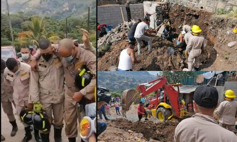 VIDEO  ¡Acto heroico! Bomberos agradecen a Dios al rescatar a albañiles soterrados