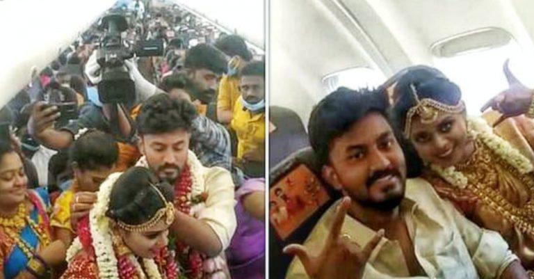 En India: realizan boda en un avión para eludir las restricciones anticovid