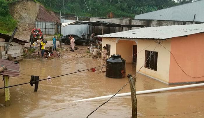 Viviendas inundadas en Copán