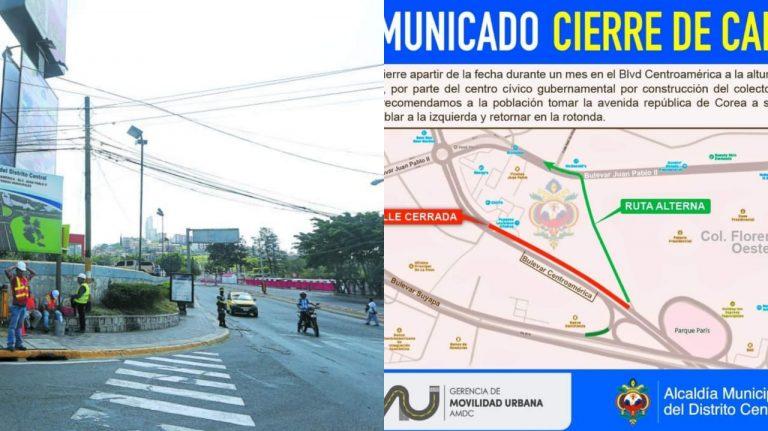 Tránsito anuncia cierre del bulevar Juan Pablo II: tome estas rutas alternas