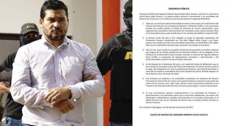 Defensa de David Castillo denuncia presiones nacionales e internacionales para inculparlo