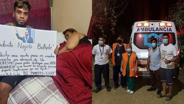 Nayib Bukele envió ambulancia a hondureño que le clamó ayuda para su madre