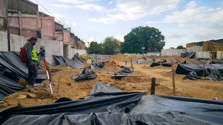 Fundición de concreto: así avanza la reconstrucción del mercado Guamilito