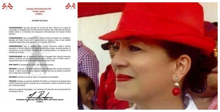 Partido Liberal lamenta el fallecimiento de la exdiputada Carolina Haylock