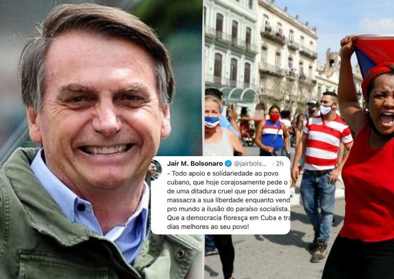 """Jair Bolsonaro pide """"el fin de una dictadura cruel"""" en Cuba"""