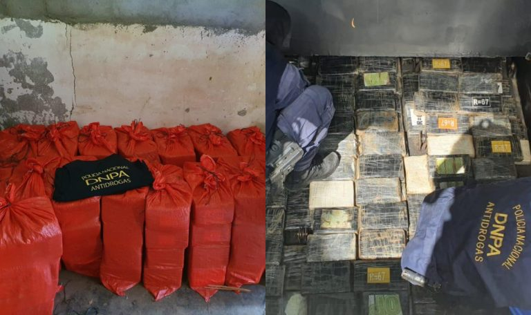 Hallan 16 sacos de droga en casa y un camión; hay cuatro detenidos
