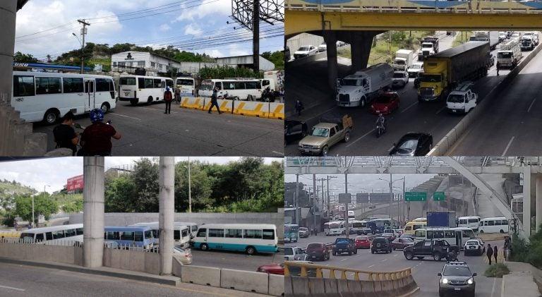 Tegucigalpa se une al paro de transporte: en estos puntos no hay paso