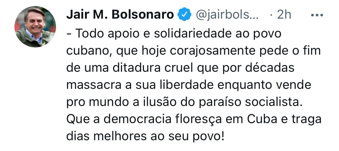 bolsonaro dictadura en cuba