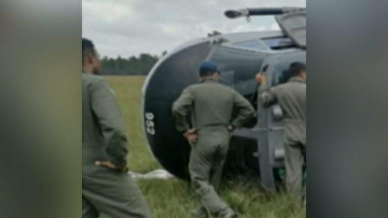 Helicóptero de la FAH se accidenta en Gracias a Dios