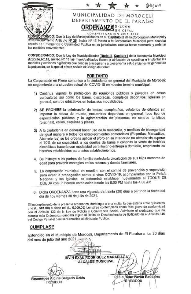 Morocelí impone toque de queda