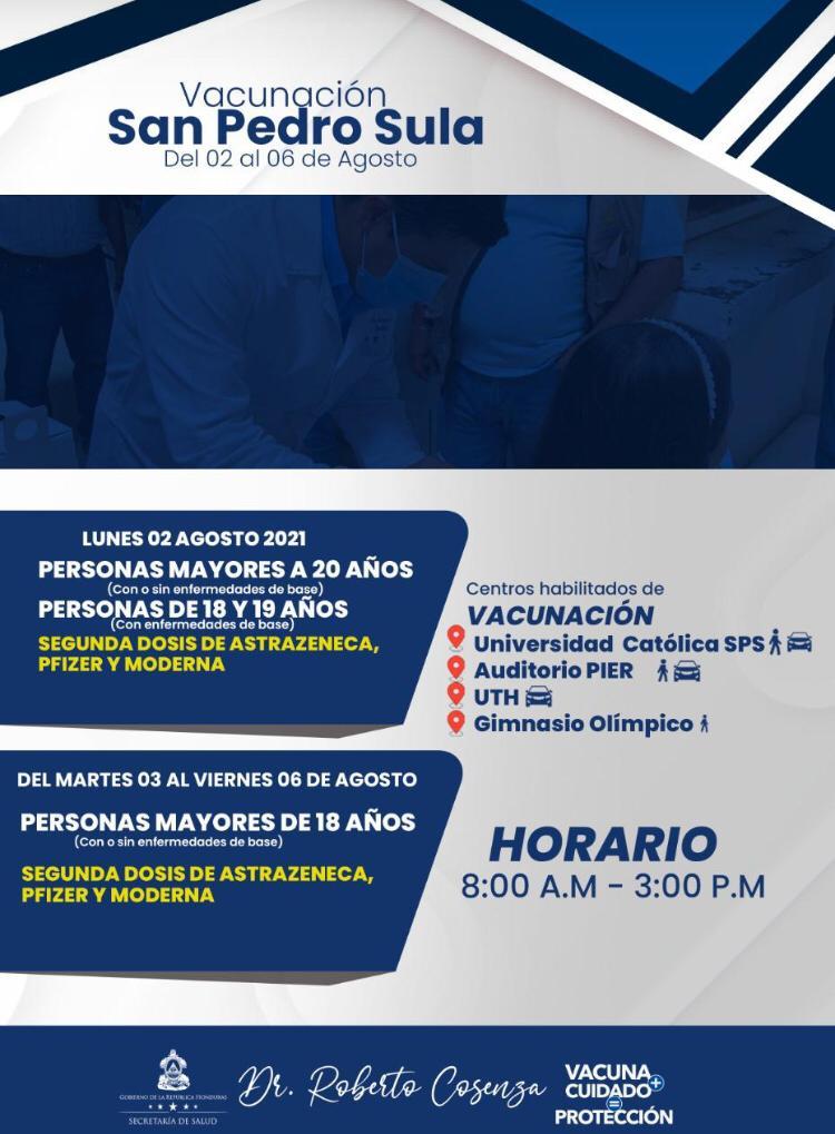 Vacunación contra COVID-19 en San Pedro Sula.
