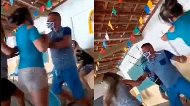 Mujer pelea tras ver a marido junto a la amante cuando iban a vacunarse