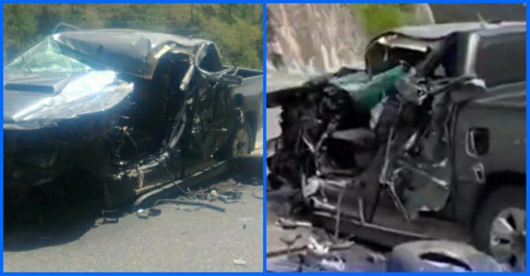 Encontronazo entre pick-up y camión deja dos heridos en Cuesta de La Virgen