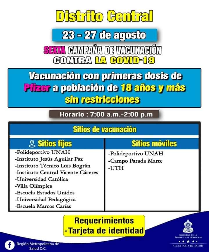 Vacunación contra el COVID Miércoles