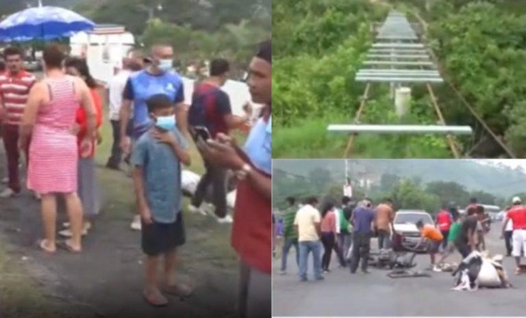 Pobladores se toman salida a Olancho exigiendo construir puente