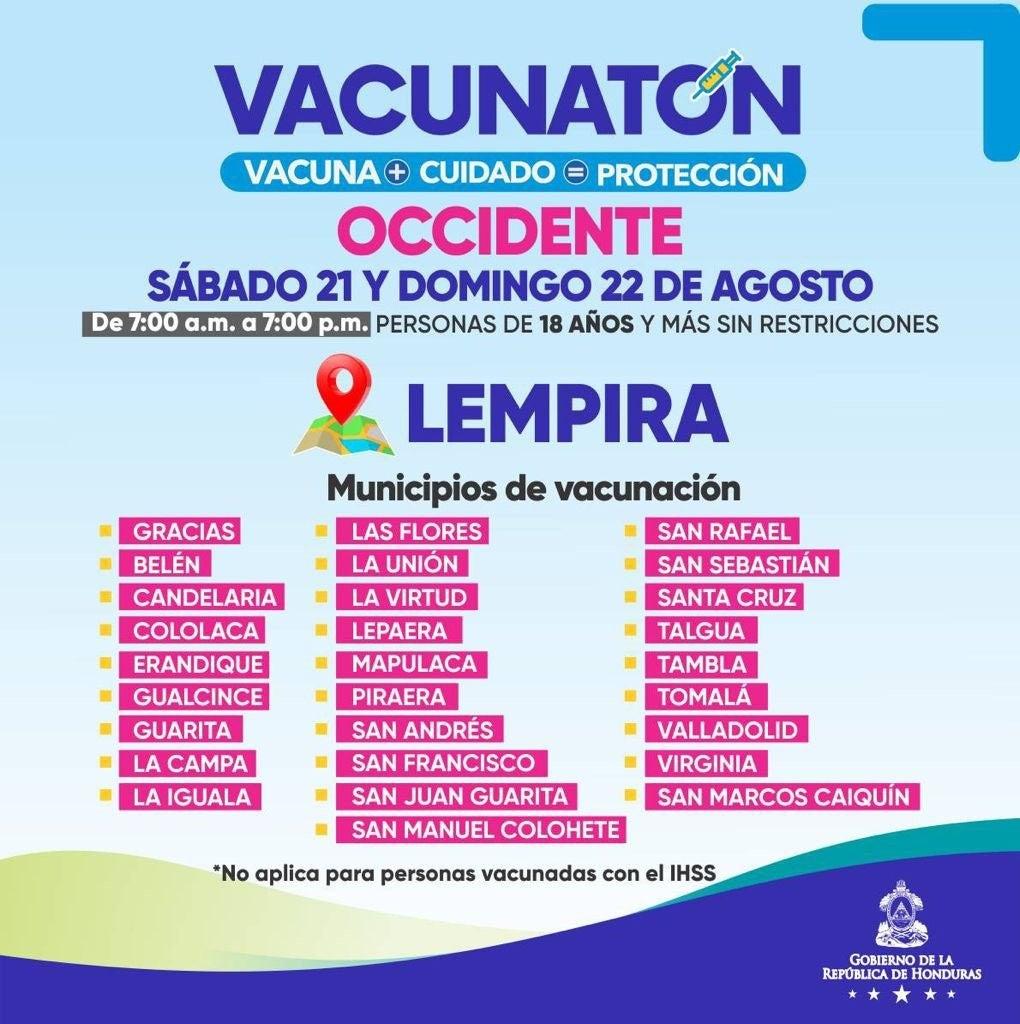 Los horarios de vacunación será de 7:00 a.m. a 7:00 p.m.