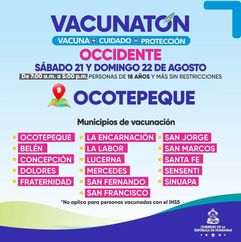 El cuarto Vacunatón en Ocotepeque de 7:00 a.m. a 5:00 p.m.