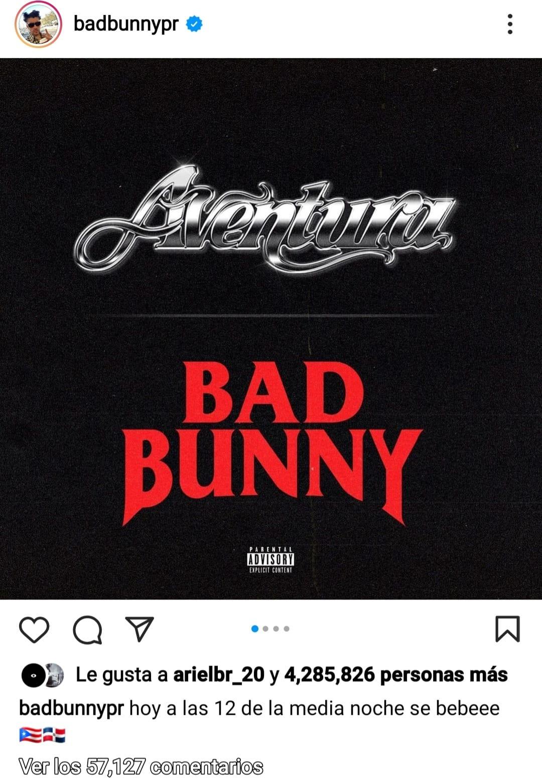 Bad Bunny nuevo tema Aventura
