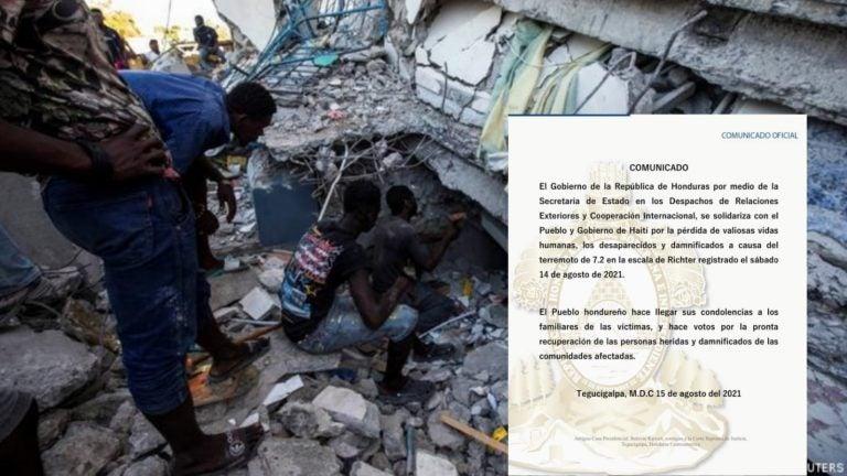 Honduras se solidariza con Haití tras terremoto