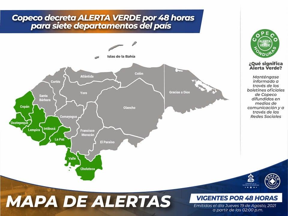 departamentos del país en alerta verde