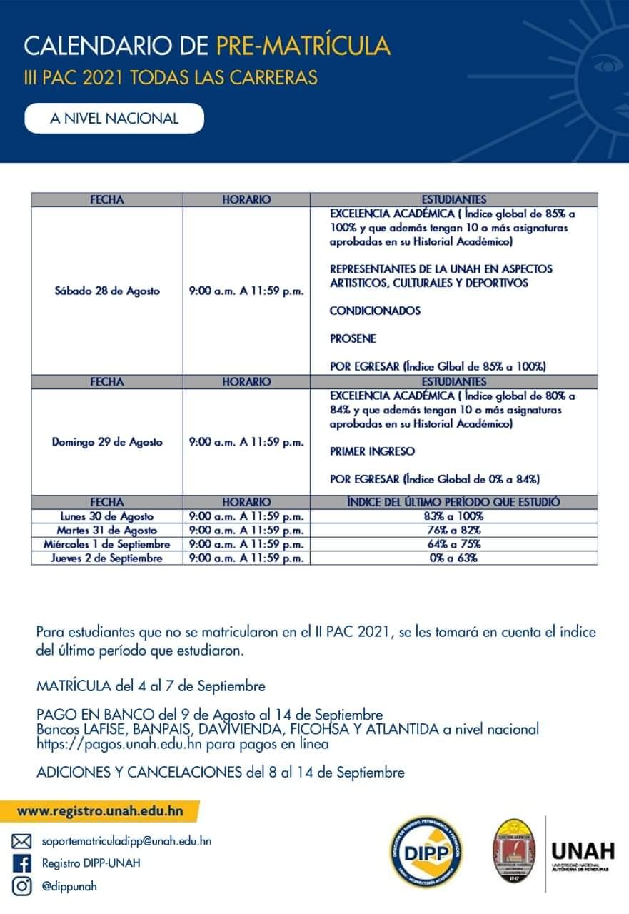 De acuerdo con la programación de la UNAH, del 4 al 7 de septiembre se habilitará la matrícula.