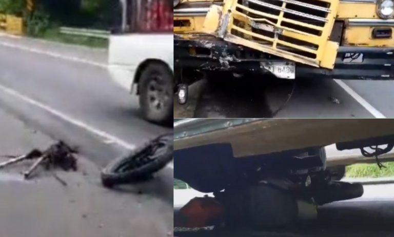 Lo arrastró: bus arrolla y mata a joven motociclista en Choluteca