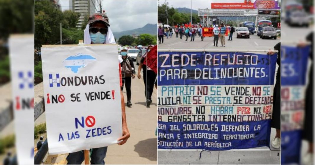 Hondureños marchan en contra de las ZEDE