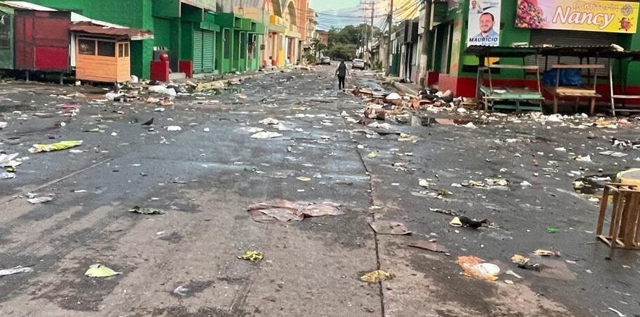 basura en las calles de La Ceiba