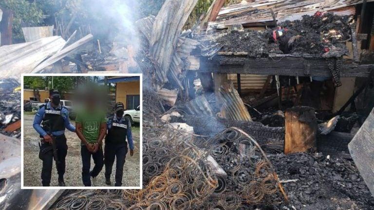 Hombre incendia casas y casi quema viva a su familia en La Ceiba