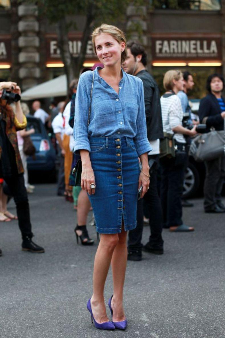 Un outfit completamente de mezclilla, con tacones hace realzar tu elegancia.