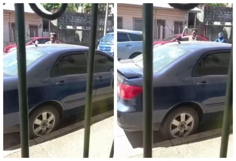 VIDEO: Mujer destruye vidrios de carros en La Ceiba