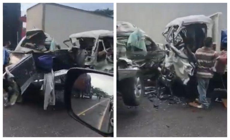 Triple accidente en Yojoa; trasciende tres muertos y un herido