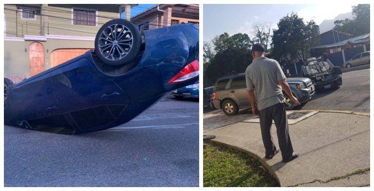 SPS: Volcado queda vehículo tras colisión en bulevar Mackey