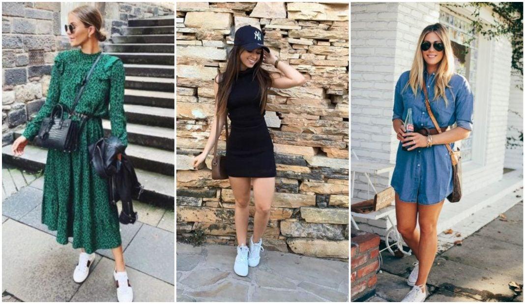 Cómo combinar vestidos con tenis