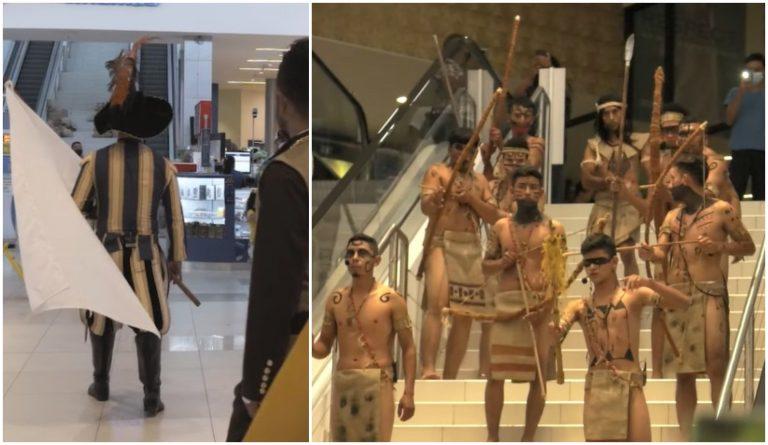 """Artistas hondureños recrean muerte de Lempira en un """"mall"""""""