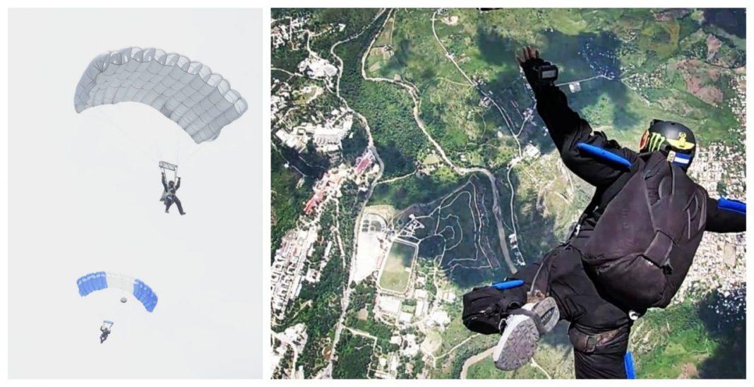 paracaidistas en el estadio nacional