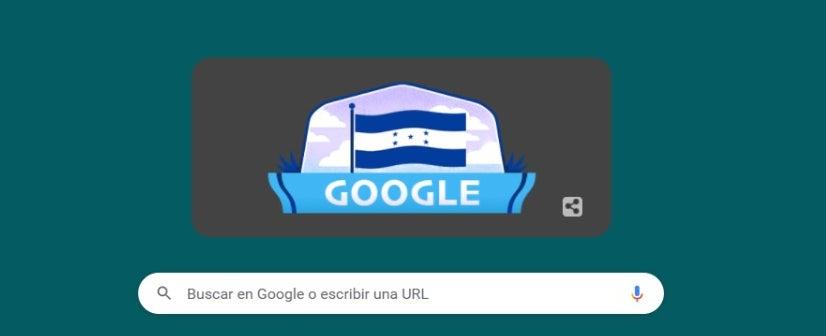 La Bandera de Honduras es el fondo en la página principal de Google.