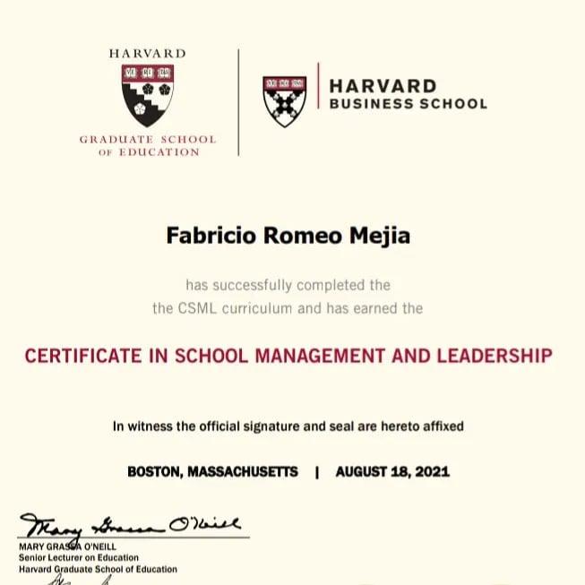Certificado de aceptación de Harvard.