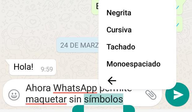 WhatsApp truco tipografía