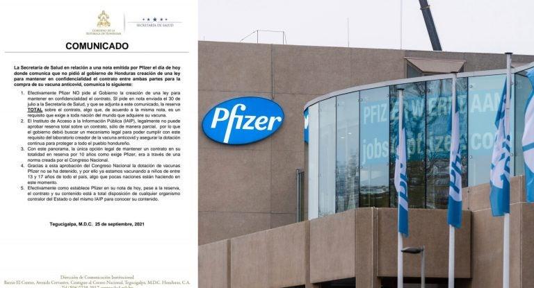 Salud confiesa que Pfizer no exigió ley de confidencialidad