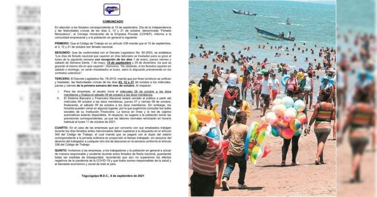 COHEP define cómo quedarán fechas del «Feriado Morazánico 2021»