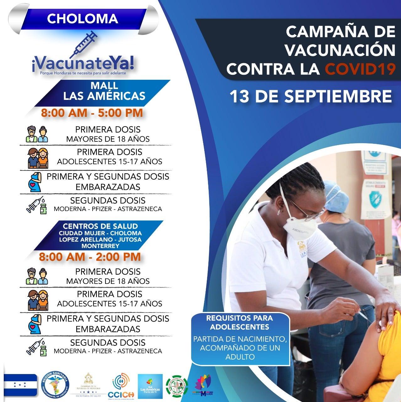 En estos sitios se realizará la vacunación en Choloma.