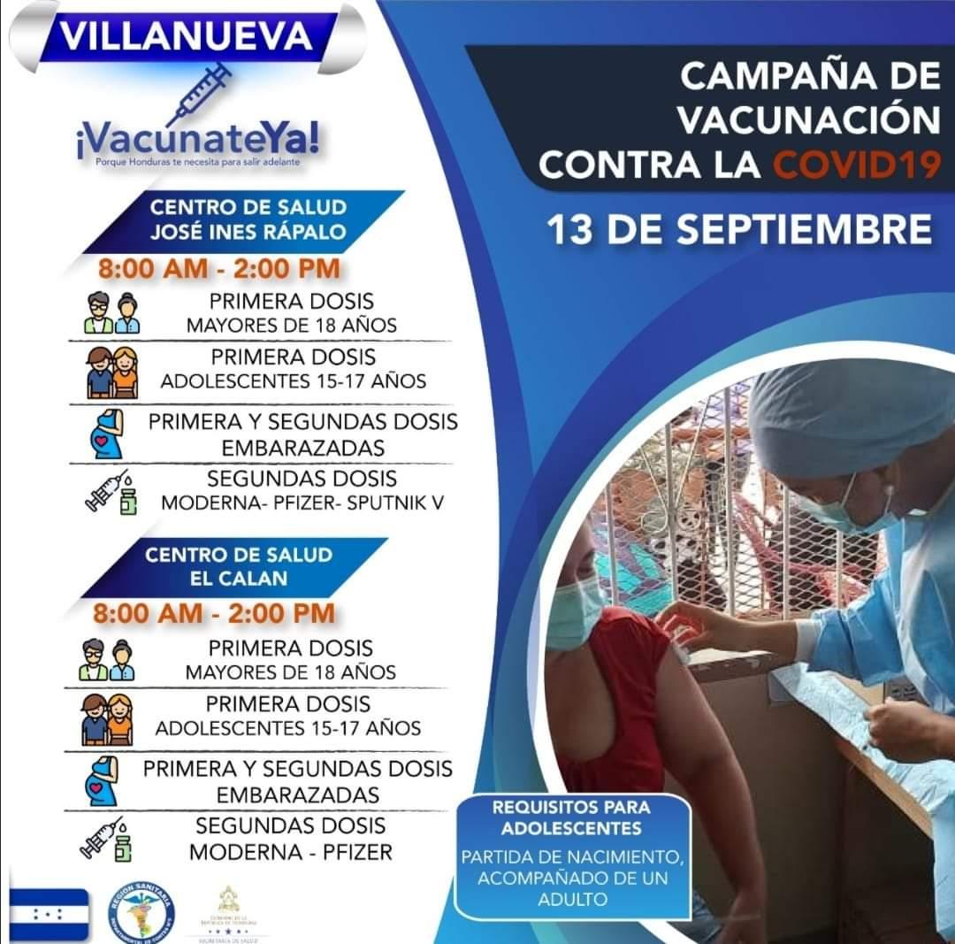 Villanueva también inició la vacunación de jóvenes.